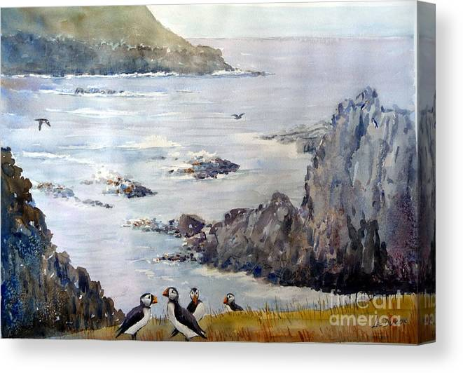 Puffins Canvas Print featuring the painting Curious Encounter by Les Ducak