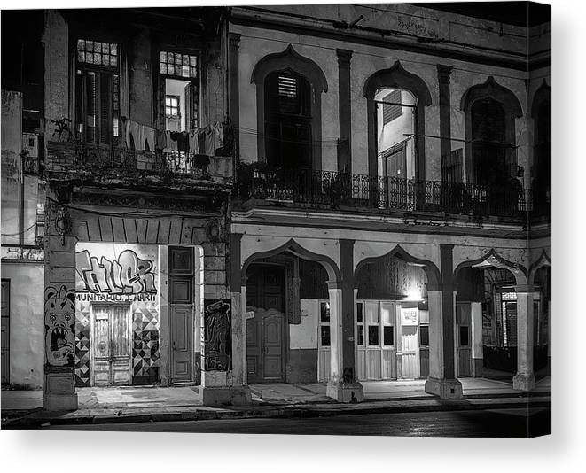 Joan Carroll Canvas Print featuring the photograph Early Morning Paseo Del Prado Havana Cuba Bw by Joan Carroll