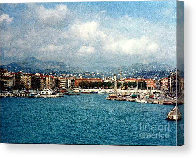 Landscape Canvas Print featuring the photograph Harbor Scene In Nice France by Nancy Mueller