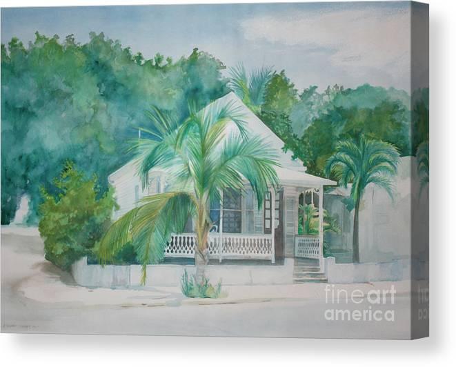 Landscape Canvas Print featuring the painting Key West House by Eva Ryczaj Lemmo
