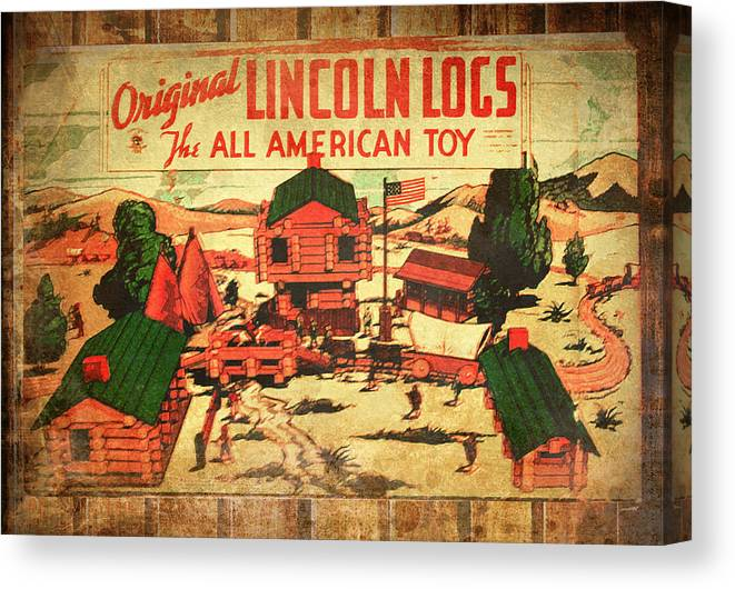 Lincoln Logs Canvas Print featuring the photograph Lincoln Logs Retro by Susan Vineyard