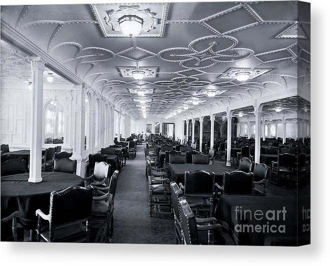 Dining Room Canvas Print Featuring The Photograph Main Of Titanic By