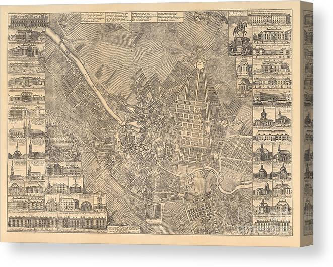 Maps Canvas Print featuring the painting Map Of Berlin Showing Buildings Of Interest, 1773 by Johann David Schleuen