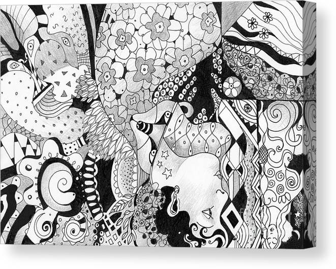 Surreal Canvas Print featuring the drawing Moving In Circles - The Other Way Around by Helena Tiainen