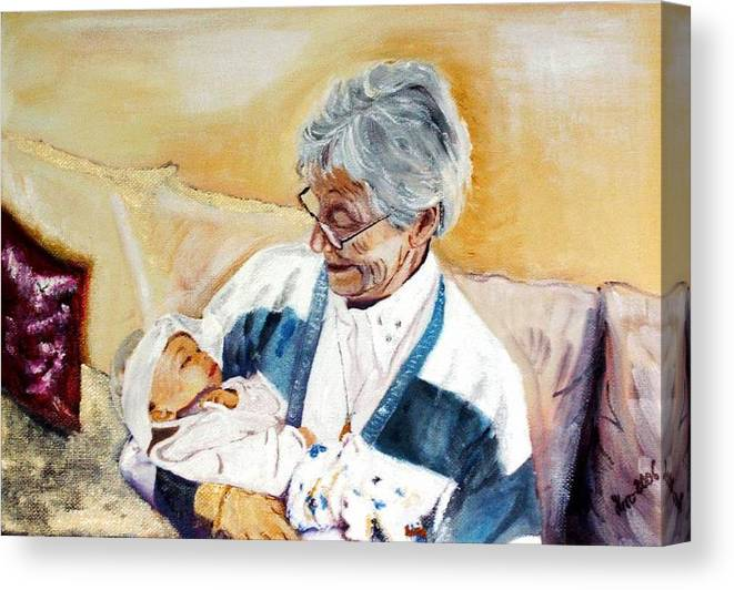Portrait Canvas Print featuring the painting my granddaughter Leonie with her great grandmum by Helmut Rottler