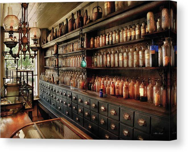 Pharmacy Canvas Print featuring the photograph Pharmacy - So Many Drawers And Bottles by Mike Savad