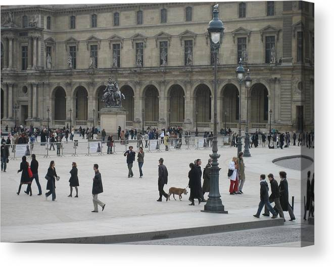 Louvre Canvas Print featuring the photograph Place Du Carrousel At The Louvre by Victoria Heryet