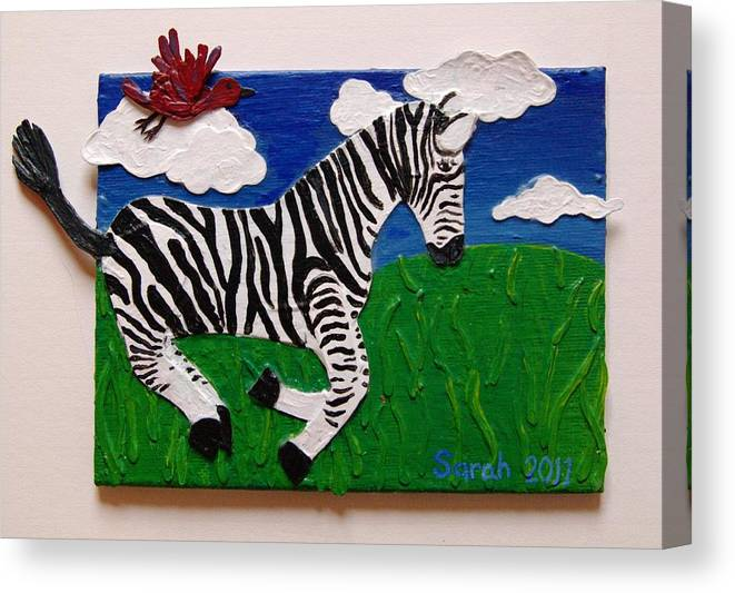 Zebra Canvas Print featuring the mixed media Prancing Zebra And Bird by Sarah Swift