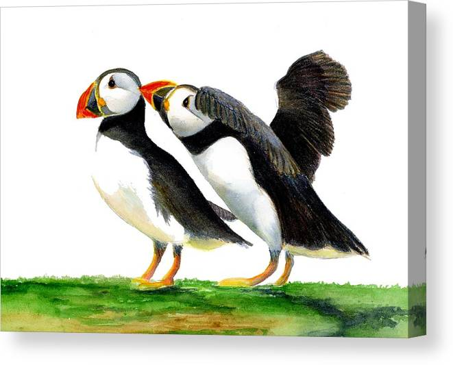 Canvas Print featuring the painting Puffins by Alison Langridge