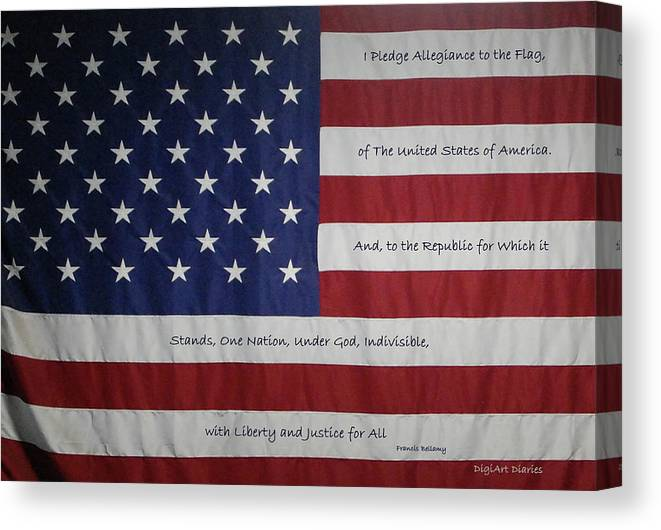 America Canvas Print featuring the digital art Red White And True by DigiArt Diaries by Vicky B Fuller