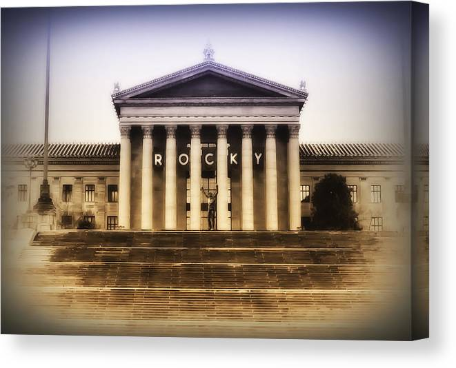 Rocky Balboa Canvas Print featuring the photograph Rocky On The Art Museum Steps by Bill Cannon