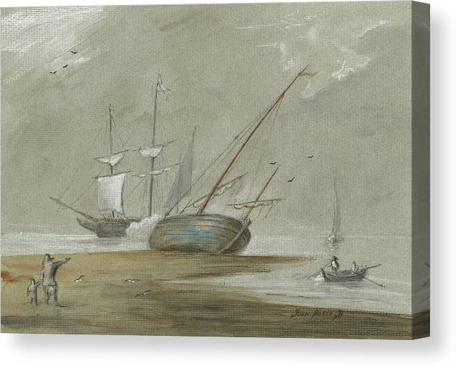 Sail Canvas Print featuring the painting Sail Ships And Fishing Boats by Juan Bosco
