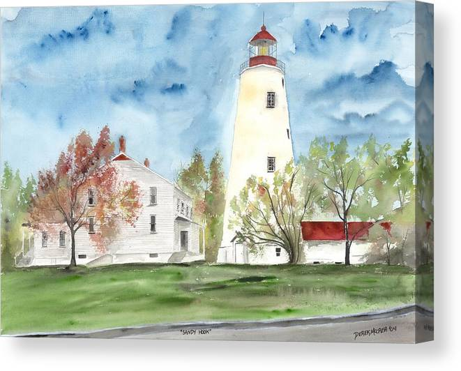 Watercolor Canvas Print featuring the painting Sandy Hook Lighthouse by Derek Mccrea