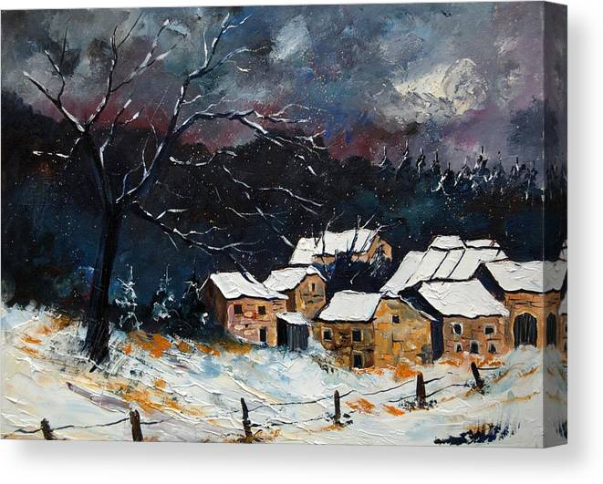 Snow Canvas Print featuring the painting Snow 57 by Pol Ledent