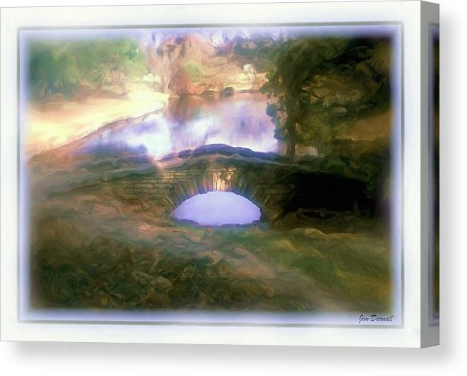 Garden Canvas Print featuring the photograph Stone Bridge by Jim Darnall