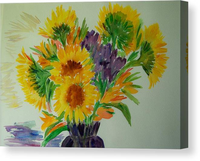 Flowers Canvas Print featuring the painting Sunflowers by Liliana Andrei