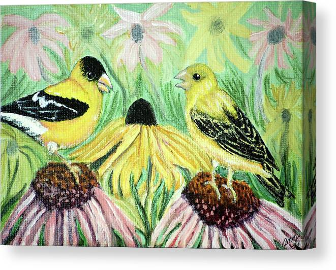 Finch Canvas Print featuring the painting Talking Finches by Ann Ingham