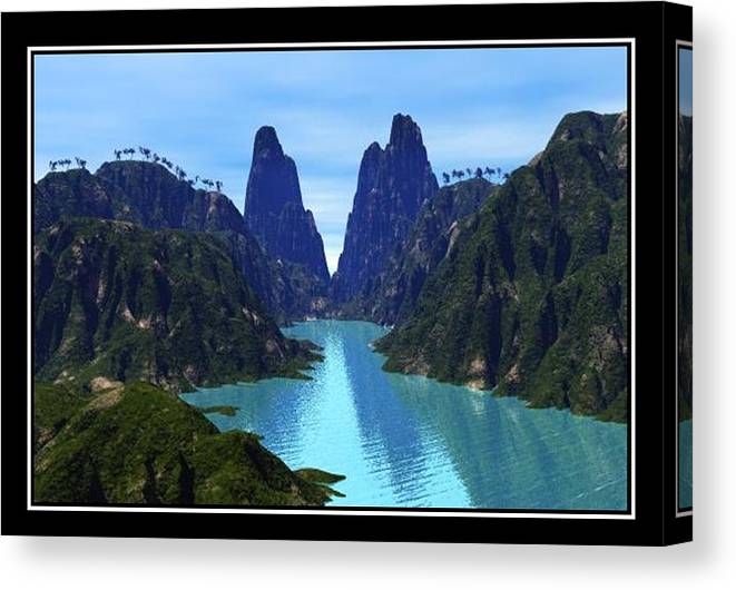 River Mountains Canvas Photo Realistic Mountains Palm Trees Vegetation Canvas View William Ballester Canvas Print featuring the digital art What River by William Ballester