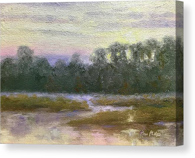 Creek Canvas Print featuring the painting Winter Sunrise by Rosie Phillips