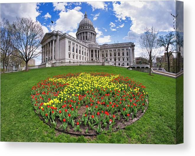 Wi Canvas Print featuring the photograph Wisconsin Capitol And Tulips by Steven Ralser