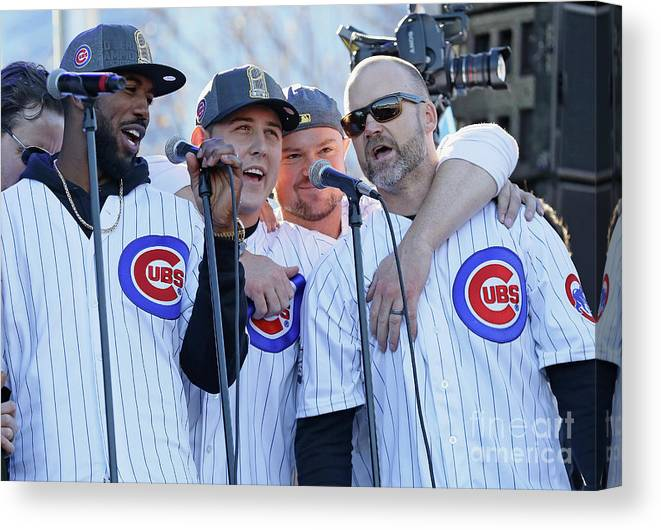 Three Quarter Length Canvas Print featuring the photograph Chicago Cubs Victory Celebration by Jonathan Daniel