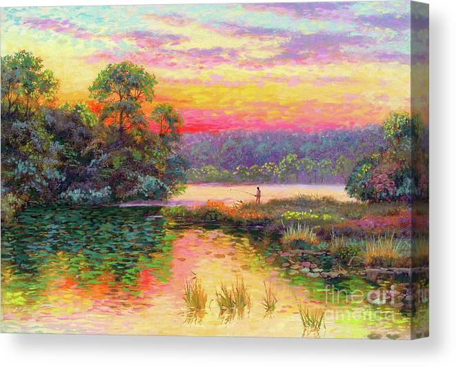 Sunset Canvas Print featuring the painting Fishing In Evening Glow by Jane Small