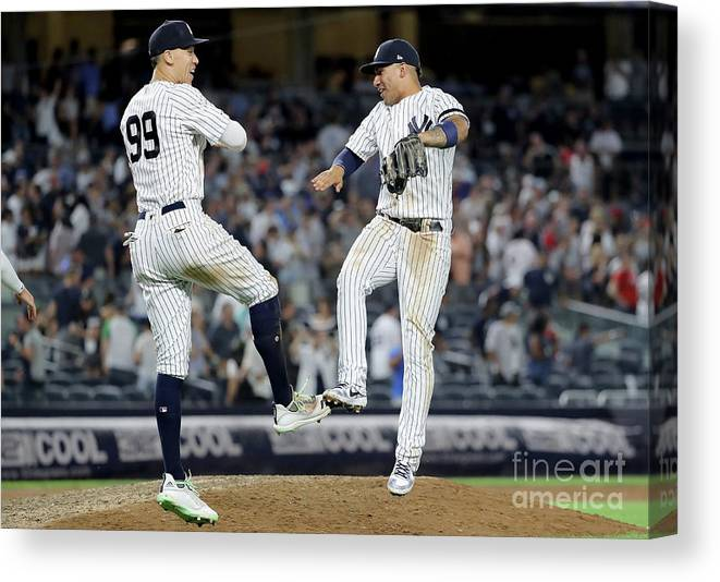 People Canvas Print featuring the photograph Aaron Judge And Gleyber Torres by Elsa
