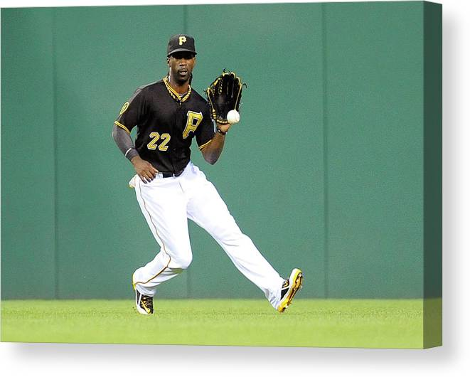 Ball Canvas Print featuring the photograph Andrew Mccutchen And Alfredo Simon by Joe Sargent