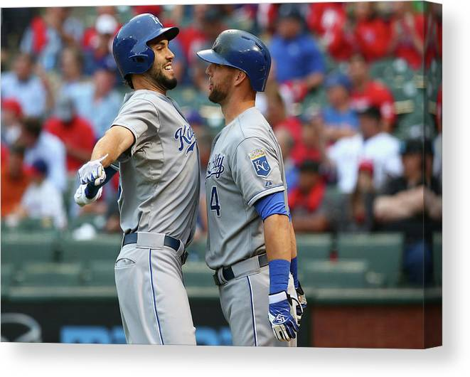 Second Inning Canvas Print featuring the photograph Eric Hosmer And Alex Gordon by Ronald Martinez
