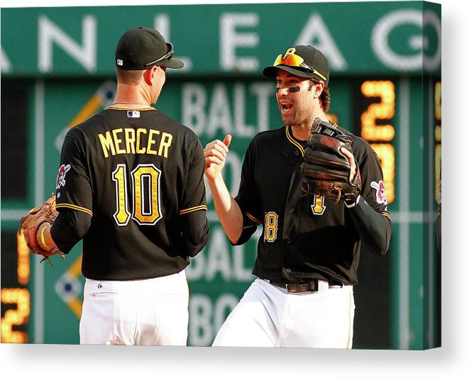 Professional Sport Canvas Print featuring the photograph Jordy Mercer And Neil Walker by Justin K. Aller