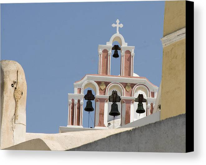 Greece Canvas Print featuring the photograph Bells Of Santorini by Charles Ridgway