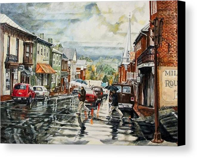 Rural Town Canvas Print featuring the painting Looking North by Thomas Akers