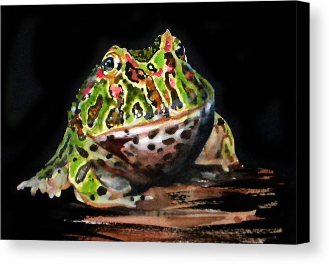 Bells Horned Frog Canvas Print featuring the painting Puffy by Gina Hall