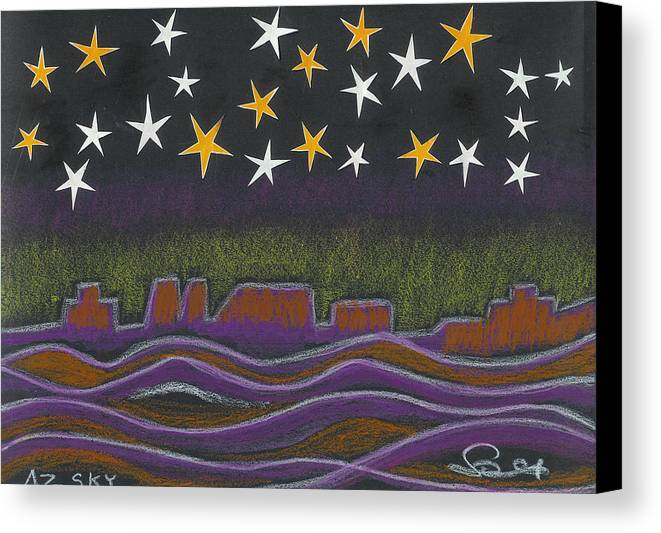 Sky Canvas Print featuring the drawing Twighlight Over Arizona Horizon by Ingrid Szabo