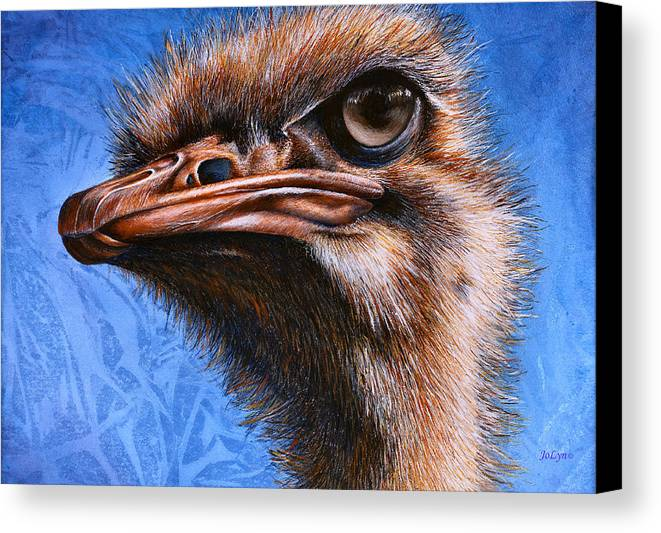 Ostrich Canvas Print featuring the print Fugley by JoLyn Holladay