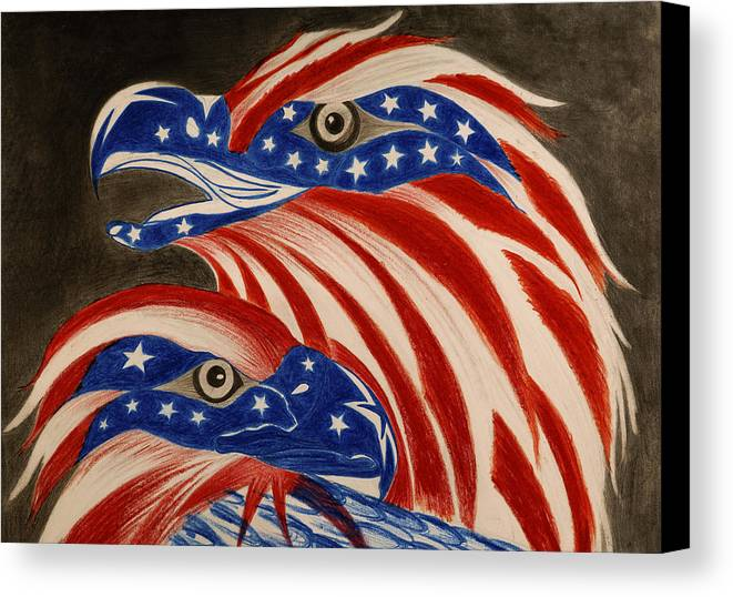 American Canvas Print featuring the drawing Proud Of Eagle by Jalal Gilani