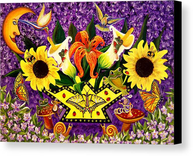 Folk Art Canvas Print featuring the painting All Gods Creatures by Adele Moscaritolo
