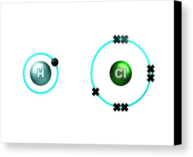 Artwork Canvas Print featuring the photograph Hydrogen Chloride Molecule Bond Formation by Animate4.com/science Photo Libary