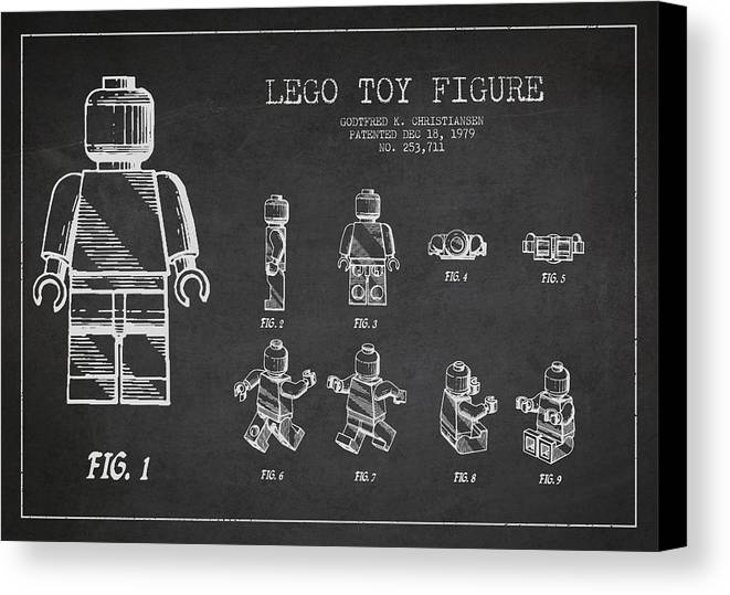 Lego Canvas Print featuring the drawing Lego Toy Figure Patent Drawing by Aged Pixel