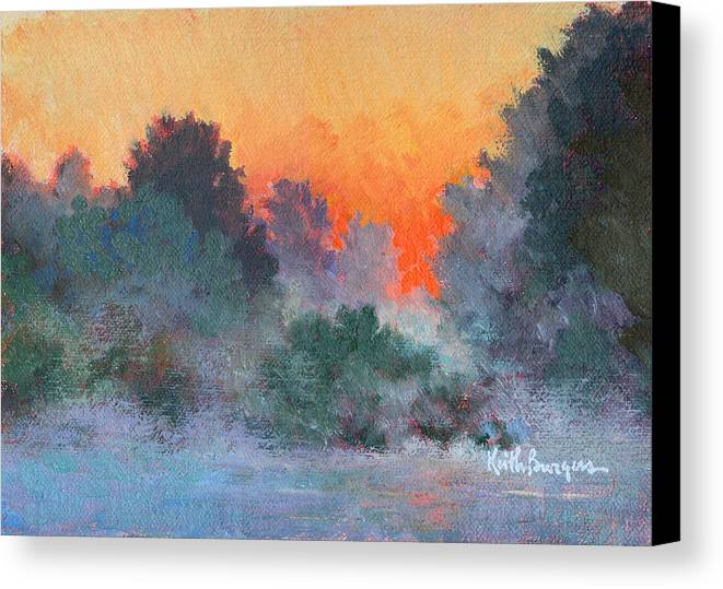 Impressionism Canvas Print featuring the painting Dawn Mist by Keith Burgess