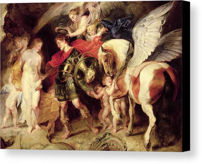 Pegasus Canvas Print featuring the painting Perseus Liberating Andromeda by Peter Paul Rubens