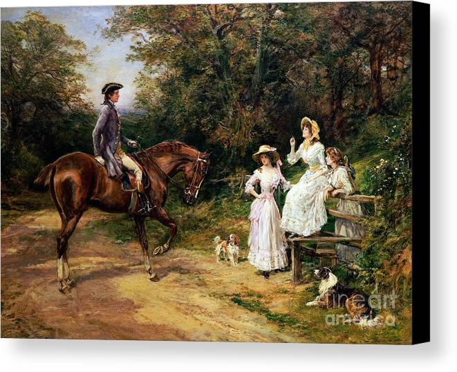 Meeting; Stile; Rural; Countryside; Road; Traveller; Rider; Male; Horse; Mounted; Horseback; Female; Walk; Walking; Polite; Greeting; Dogs; 18th; Girls; Gentleman; Romance; Romantic; Politeness; Society Life; 19th; 20th; Dirt Road; Path Canvas Print featuring the painting A Meeting By A Stile by Heywood Hardy