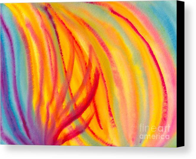 Abstract Canvas Print featuring the painting Abstract Colorful Lines by Kerstin Ivarsson
