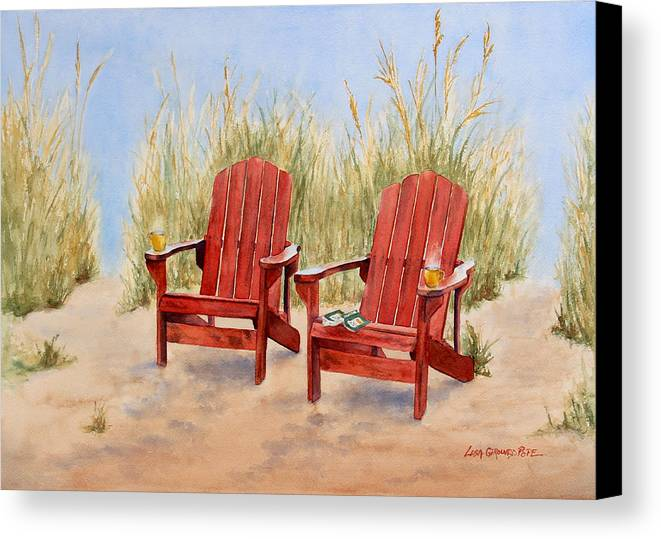 Adirondack Chairs Canvas Print featuring the painting Adirondack Thrones by Lisa Pope