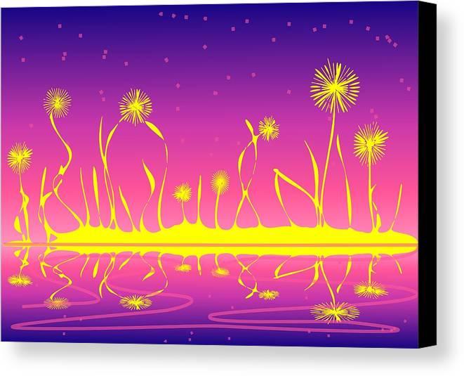 Malakhova Canvas Print featuring the digital art Alien Fire Flowers by Anastasiya Malakhova