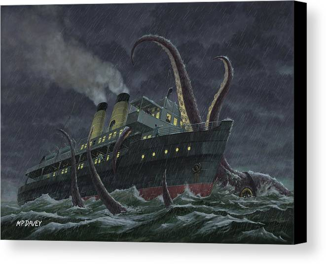 Squid Canvas Print featuring the painting Attack Of Giant Squid by Martin Davey