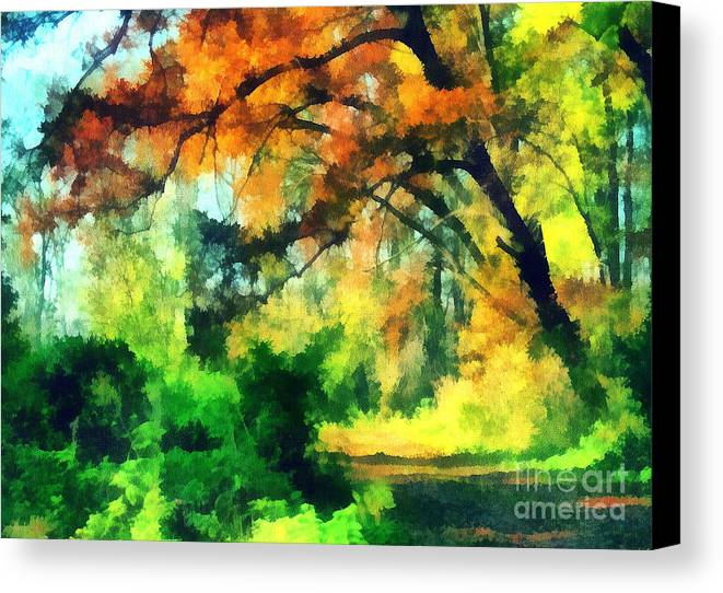 Odon Canvas Print featuring the painting Autumn In The Woods by Odon Czintos