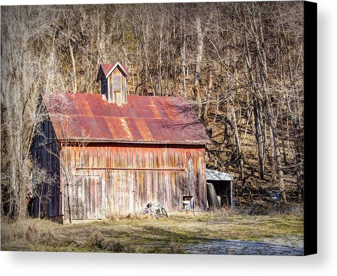 Barn Canvas Print featuring the photograph Barn By The Bluffs by Cricket Hackmann