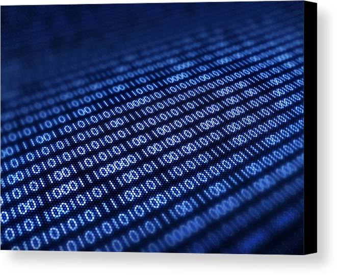 Blue Canvas Print featuring the photograph Binary Code On Pixellated Screen by Johan Swanepoel
