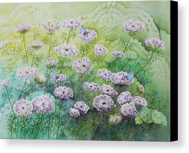 Butterflies Canvas Print featuring the painting Blue Butterflies by Patsy Sharpe